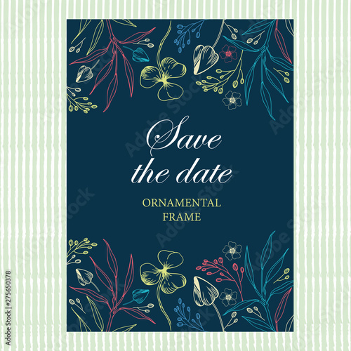 Fototapety, obrazy: Wedding invitation, thank you card, save the date cards.