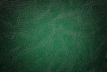 Dark Green Leather Texture Background, Closeup. Emerald Cracked Backdrop