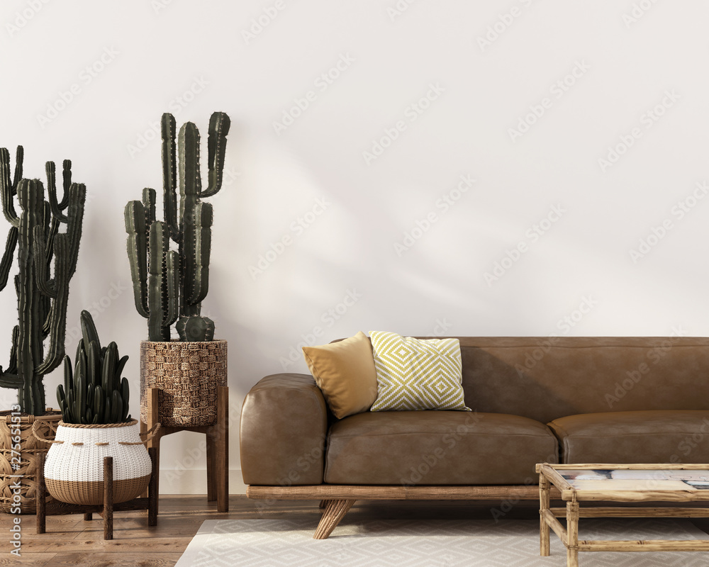 Fototapety, obrazy: Boho-style interior with leather sofa and cacti