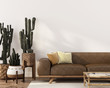 canvas print picture Boho-style interior with leather sofa and cacti