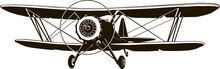 Retro Biplane Vector Monogram Black Airplane Classic Front