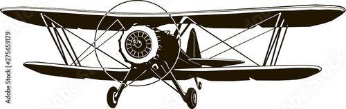 retro biplane vector monogram black airplane classic front Wallpaper Mural