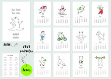 Your Health - Your Choice! Monthly Calendar 2020 Template With A Cute White Athlete Cat. Vector Illustration 8 EPS.