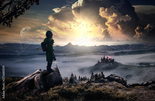 The revenge of a heroic and brave child against an evil castle (Fantasy) Wallpaper Mural