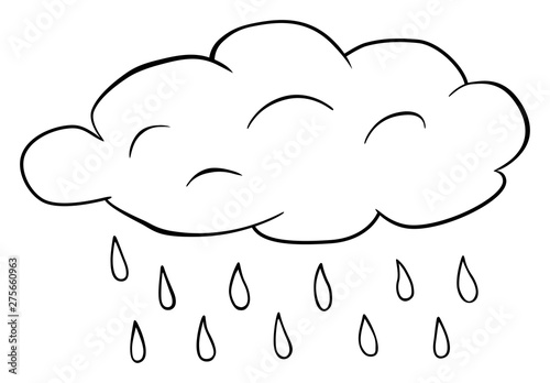 Cloud with rain drops clipart. Vector water drops outline ...