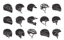 Set Of Racing Helmets On A White Background. Racing Helmets For Car, Motorcycle And Bicycle. Head Protection. Monochrome Icons.