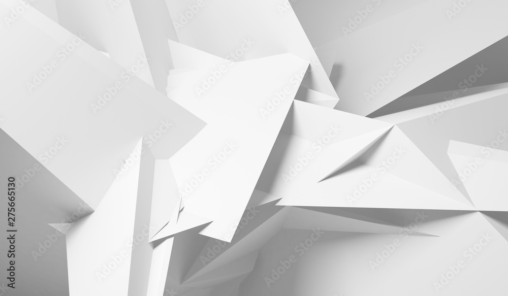Fototapeta Intersected lwhite ow poly structures