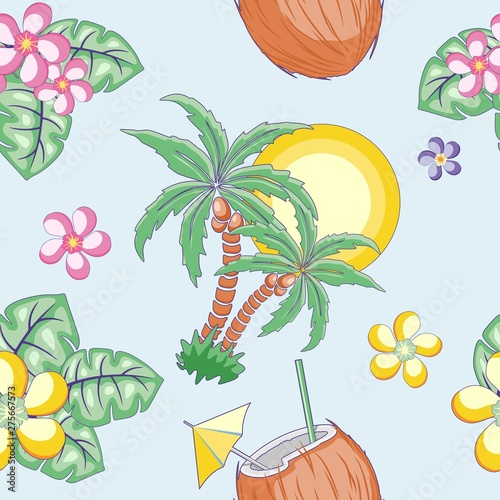 Foto auf AluDibond Ziehen Summer Exotic mood Vector Seamless Pattern Textile Design