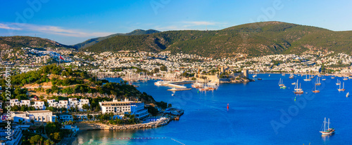 Bodrum, Turkey . hilltop view of marina and old town with fortress