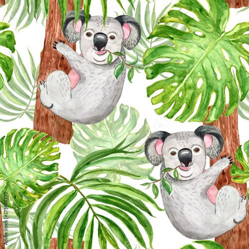 akwarela-modny-tropikalny-wzor-z-recznie-malowanymi-liscmi-koali-palm-i-monstera-na-bialym-tle-letni-nadruk-botaniczny-egzotyczne-zwierze