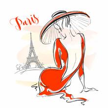 Elegant Girl In A Hat In Paris. Stylish Model. Vector