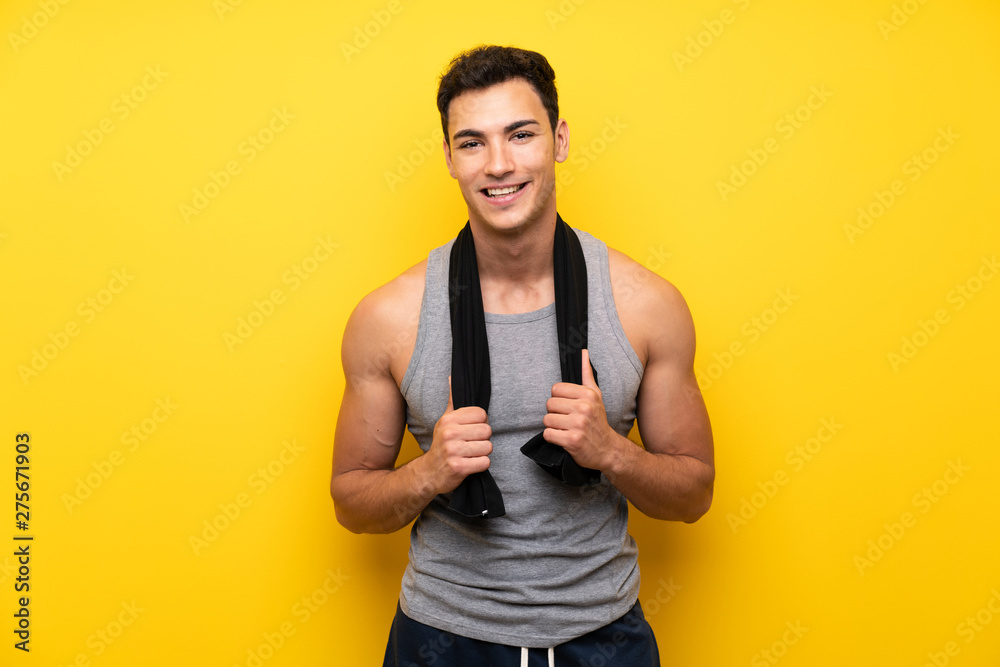 Fototapety, obrazy: Handsome sport man over isolated background