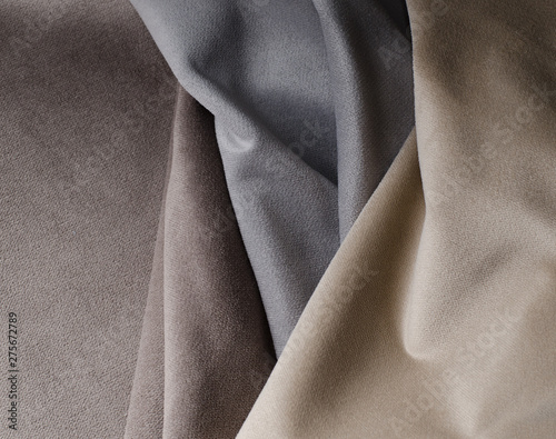 Recess Fitting Fabric Light colors velour textile samples.. Fabric texture background