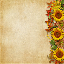 Vintage Background With A Border Of Beautiful Autumn Bouquet With Copy Space