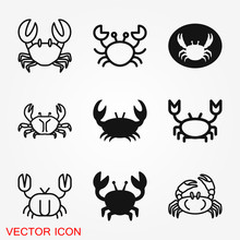 Crab Vector Icon. Crab Sign On...