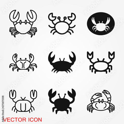 Photo  Crab vector icon. crab sign on background