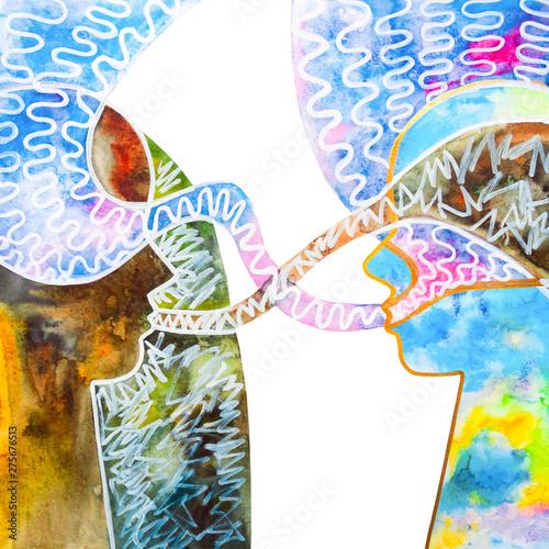 Obraz na plátně  dialogo tra due persone diverse sfondo bianco illustrazione