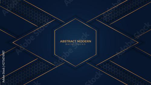 Fényképezés  Abstract Luxury Dark Blue Background with gold