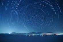 Star Trails Over Mt. Hiruzen A...