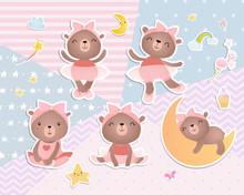 Set Of Baby Bears. Digital  Sc...