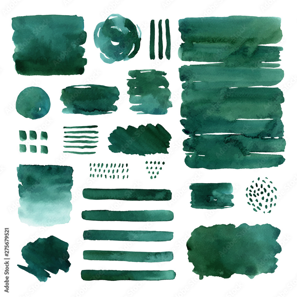 Fototapety, obrazy: Set of hand painted watercolor abstract green elements isolated on white background. Creative collection for you design