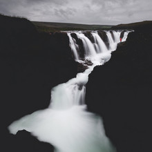 Black And White Waterfall. A P...