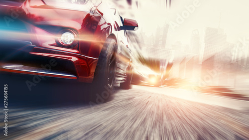 Fototapeta Speed car lighting