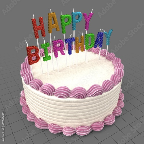 Magnificent Birthday Cake With Candles Buy This Stock 3D Asset And Explore Birthday Cards Printable Benkemecafe Filternl