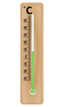 Wooden Brown Thermometer. Vector Illustration