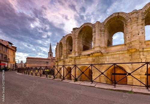 Photo France. Arles. Old antique roman amphitheater arena.