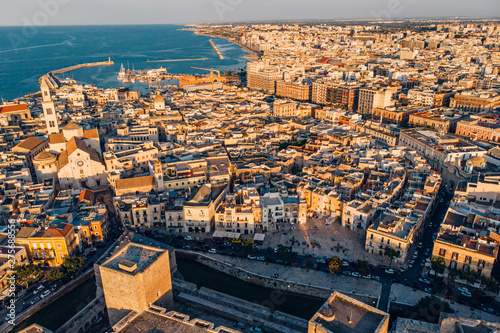 Panoramic view of old town in Bari, drone shot, Puglia, Italy