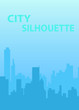 Vector illustration of blue city silhouette
