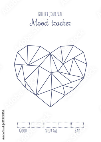 photo about Mood Tracker Bullet Journal Printable named Printable temper tracker with basic polygonal center. Bullet