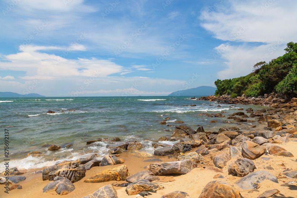 Fototapety, obrazy: Exotic tropical beach under blue sky.