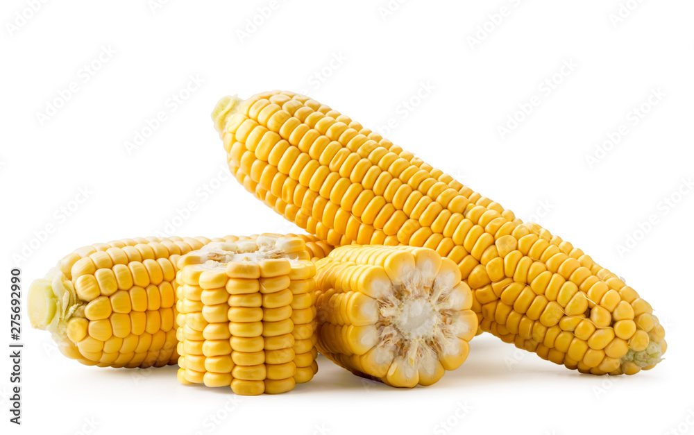 Fototapety, obrazy: Ripe corn and pieces on a white background. Isolated