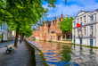 canvas print picture - View of the historic city center of Bruges (Brugge), West Flanders province, Belgium. Cityscape of Bruges with canal.
