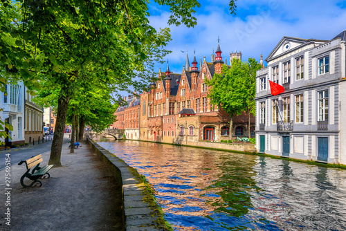 Wall Murals Bridges View of the historic city center of Bruges (Brugge), West Flanders province, Belgium. Cityscape of Bruges with canal.