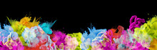Acrylic Colors In Water. Ink Blot. Abstract Black Background. Horizontal Long Banner.