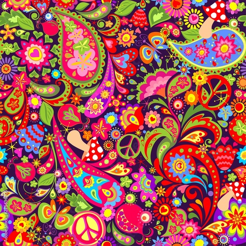 Obraz na plátně Hippie vivid colorful wallpaper with abstract flowers, hippie peace symbol, mush