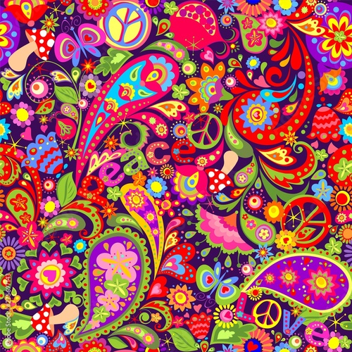 Платно Hippie vivid colorful wallpaper with abstract flowers, hippie peace symbol, peac