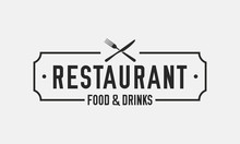 Vintage Restaurant Logo. Restaurant Badge, Poster With Fork And Knife. Vector Emblem Template