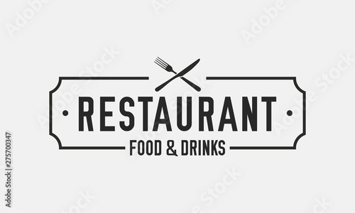 Fototapeta Vintage restaurant logo. Restaurant badge, poster with fork and knife. Vector emblem template obraz