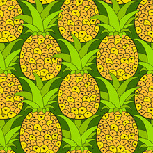 Pineapples Seamless Pattern. Tropical Background. Vector Illustration.