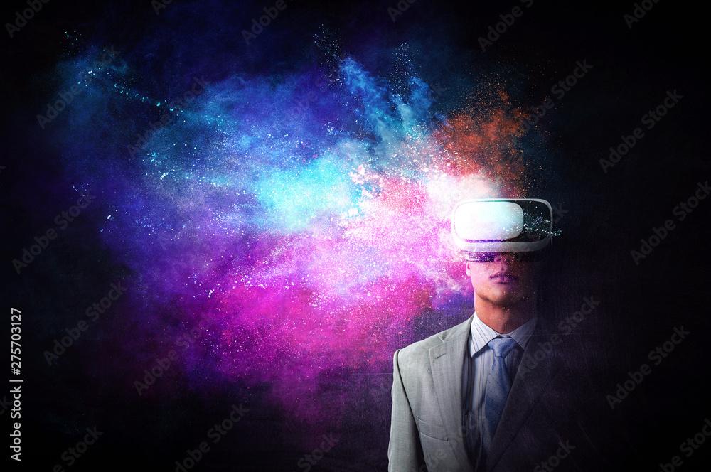 Fototapeta Virtual reality experience. Technologies of the future. Mixed media