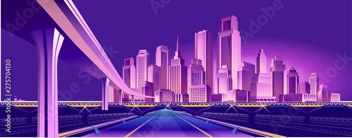 Poster Violet road to the neon city