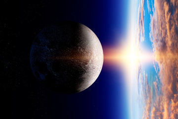 Moon and Earth, view from planet orbit, space beauty