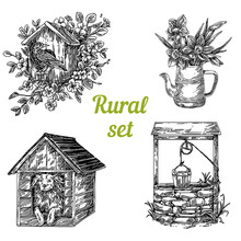 Rural Set. Birdhouse, Jug With Narcissus, Doghouse And Old Well. Sketch. Engraving Style. Vector Illustration.