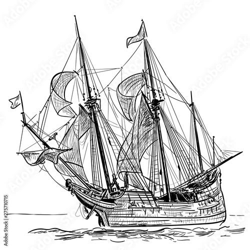 Sailing Ship vintage frigate on the waves Wallpaper Mural