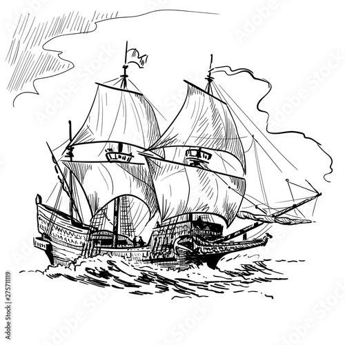 Fotografía Sailing Ship vintage frigate on the waves