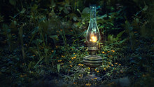 Mystical Scene With Old Kerosene Lamp In Grass. Mysterious Night In Forest. Fairy Abstract Scene. Magic Flashlight Vintage Gas Lantern Lighting. Copy Space